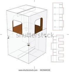Retail Package With Die Cut Window And Die Cut Blueprint Stock Vector Illustration 383588530 : Shutterstock Box Design Templates, House Vector, Point Of Purchase, Free Boxes, Craft Box, Design Files, Box Packaging, Layout, House Design