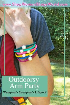 """Outdoorsy girls like bling too, we get it.😉 Our """"Janis the Pearl"""" bracelets are the perfect everyday accessory; durable enough for camping, hiking, swimming, biking, and any other sweaty activities. Made from silicone and a 100% natural freshwater pearl, these bracelets will be your summer arm party staple. Shop from 22+ colors in 4 sizes. Pearl Bracelets, Bangles, Pony Bead Projects, Paracord Projects, Taylor Swift Pictures, Capri Blue, Arm Party, Shopping World, Camping Crafts"""