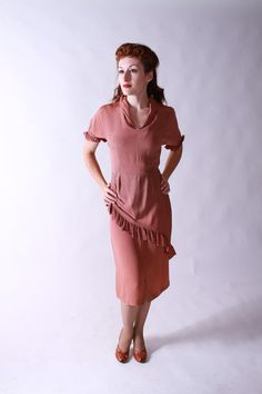 Vintage 1940s Dress - Ruffled Rayon Light Brown Noir Dress