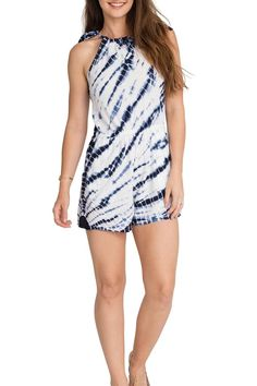"Tie dye romper with tie shoulder detail. This romper is perfect for Sunday brunches or dress it up with some wedges for that casual wedding. Model is 5'8"" and is wearing a small. Fiona Romper by Olive & Oak. Clothing - Jumpsuits & Rompers - Rompers California"