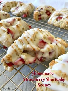 These Homemade Strawberry Shortcake Scones are flaky, tender, and filled with fresh strawberries. If that isn't enough to draw you in, the scones are drizzled with a sweet and creamy glaze. Homemade Strawberry Shortcake, Strawberry Scones, Strawberry Cookies, Strawberry Muffins Healthy, Strawberry Rhubarb Recipes, Strawberry Ideas, Healthy Scones, Easy Strawberry Desserts, Strawberry Cobbler