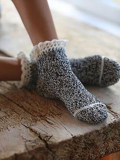 Heathered ankle boot socks with ruffled crochet trim - from free people Boot Socks, Ankle Socks, Comfy Socks, Highland Boots, Simple Gifts, Crochet Trim, Sock Shoes, Women's Shoes, Knitting Socks