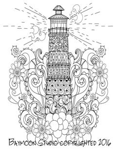 Lighthouse Coloring Page, Printable Coloring Pages, Adult Coloring Pages, Hand Drawn, Digital Illustration, INSTANT DOWNLOAD PRINT