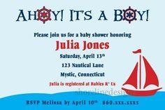Personalized Nautical theme baby shower invitation I Design You Print | ShorelineDesignz - Digital Art  on ArtFire