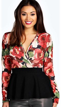 boohoo Yasmin Floral Print Wrap Front Peplum - multi Team toned down trousers with an eyes- on-me evening top for the perfect party pairing. Make the move to midnight dressing with muted tones and icy metallic hues, statement sequins and entrance-making http://www.comparestoreprices.co.uk/womens-clothes/boohoo-yasmin-floral-print-wrap-front-peplum--multi.asp