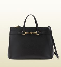 3638624482aa bright bit black leather top handle tote Gucci Handbags Outlet