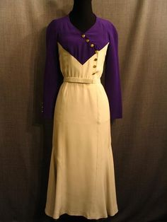 dress, purple and white silk 1930s Fashion, European Fashion, Retro Fashion, Vintage Fashion, Womens Fashion, 40s Outfits, Vintage Dresses, Vintage Outfits, Corset