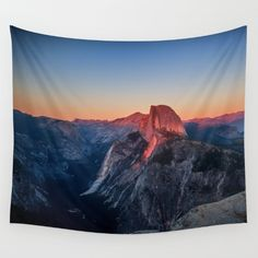 Sunset Tapestry Half Dome Yosemite Nature Tapestry Yosemite Tapestry Pink College Dorm Room Decor, Apartment Decor, Glamping, Outdoor Decor