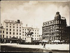 1880.. Broadway and 14th Street.. Morton House and Domestic Sewing Machine.. Washington Statue