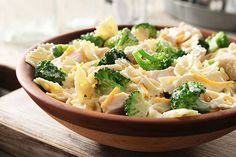 Served warm or cold, this cheesy chicken and broccoli pasta salad is an amazingly versatile option when you need to feed a crowd.
