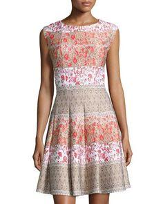TD32B Gabby Skye Printed A-Line Dress, Ivory/Flame