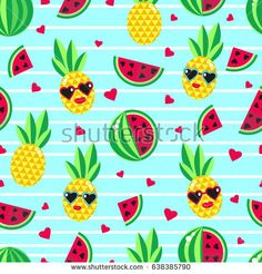 Seamless background with bright fruits: pineapple and watermelons. Bright and cheerful background can be used for design of summer clothes, wrapping paper, wallpaper, fabrics, stationery, etc.