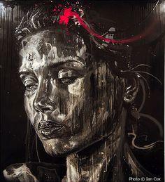 Reverse street art and graffiti portraits Street Art Love, Amazing Street Art, Amazing Art, Graffiti Artwork, Street Art Graffiti, Walker Art, David Walker, Art Graphique, Portraits