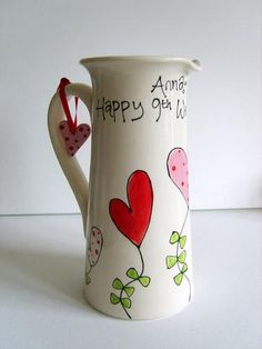 Personalized Ceramic Anniversary or Wedding Jug or Vase