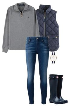 """fall in navy"" by sassy-and-southern ❤ liked on Polyvore featuring J.Crew, Polo Ralph Lauren, 7 For All Mankind, Daniel Wellington and Hunter"