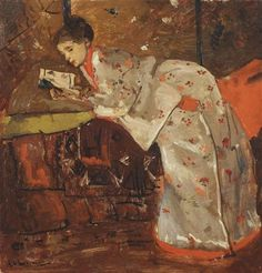 George Hendrik Breitner - Vrouw in Japansche kimono (Geesje Kwak): girl in a white kimono; Creation Date: 1893; Medium: oil on canvas