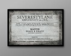 Severestylan: an Old-fashioned Wizard Potion Apothecary Label // by TheGeekerie, $19.00 #harrypotter #snape #antique