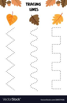Educational game for kids handwriting practice vector image on VectorStock Farm Animals Preschool, Fall Preschool, Preschool Lesson Plans, Preschool Worksheets, Kindergarten Activities, Autum Leaves, Fall Games, Arabic Alphabet For Kids, Autumn Activities For Kids