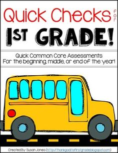Quick Check Assessments for 1st Grade! Short, Common Core aligned assessments and tracking sheets for all the phonics and math standards in first grade!