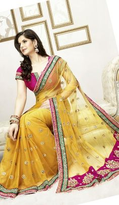 Price : 7835 INR;   Product Code	:	G3-LS1675;   Product Name	:	Yellow Net Embroidered Wedding Saree
