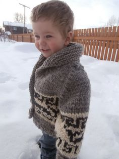 : Northern Whale Cowichan Sweater - Toddler's Cardigan This is my nephew! Kids Knitting Patterns, Baby Sweater Patterns, Cardigan Pattern, Knitting For Kids, Crochet Patterns, Knitting Ideas, Cowichan Sweater, Toddler Cardigan, Sweater Making