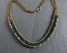 Long bohemian multi strand gemstone necklace  by ferosferio, $70.00