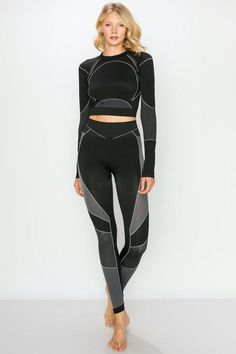 undefined Long Sleeve Crop Top, Long Sleeve Shirts, Crop Top And Leggings, Women Brands, Outfit Sets, American Apparel, Sport Outfits, Black And Grey, Style Inspiration