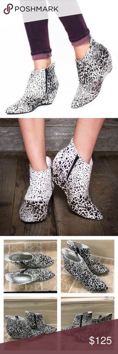 """Matisse B&W Leopard   Dalmatian Nugent Booties NWOT. Never worn. No signs of wear. True to size. With eye catching animal prints and a chic pointed toe, the Nugent wedge bootie from Matisse is a sleek and stylish ankle boot that will add a fashionable flair to any outfit! Animal print calf hair upper Inside zipper for easy on/off Hidden elastic side panel for stretch fit Pointed toe 2½"""" covered wedge heel Synthetic sole Made in Brazil Matisse Shoes Ankle Boots & Booties"""