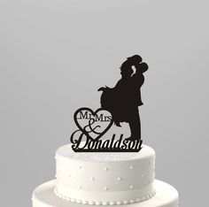 Wedding Cake Topper Silhouette Couple Mr
