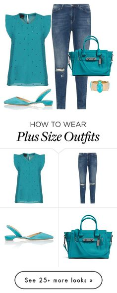 """""""Turquoise Dream"""" by angie-h-jones on Polyvore featuring Paul Andrew, JunaRose, Pinko, Coach, Chico's and chicflats"""