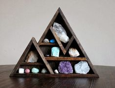Moon Phase large Crystal and Mineral collection in Handmade shelf : Stone and Violet on Etsy Mountain Wood Shelf with Crystal and Mine...