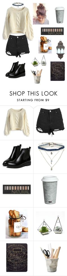 """""""Untitled 11"""" by alexa-borcea on Polyvore featuring Chicwish, WithChic, Decree, Forever 21, Fitz and Floyd, ESSEY, school, simple, indie and knit"""