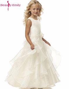 d17cda5c3d2d 2017 Krása-Emily Květinové šaty Bílé   slonovnice Reálné párty Společenské  šaty Malé holky Děti