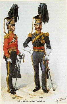 British; 9th Queen's Royal Lancers, Officers, Full Dress, 1832 & 1842 by R.Simkin