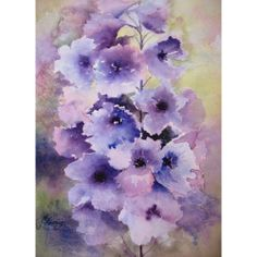 Delphinium by Jan Pursey-Grange @ Mini Gallery - Watercolour Painting