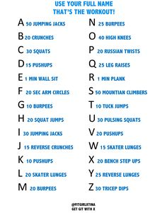 Alphabet Workout Challenge. Pining this for later!