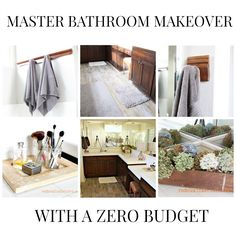 Master bathroom makeover with zero budget.  How to paint subfloors, and makeover your master bathroom using upcycled pieces and CeCe Caldwell's 100% Natural Paints and Stains  REDOUXINTERIORS.COM FACEBOOK: REDOUX