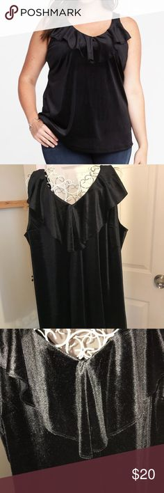 BLACK VELVET SLEEVELESS TOP Beautiful top for upcoming spring weather. Stunning w the ruffled trim in front. Worn one time. Old Navy Tops Blouses
