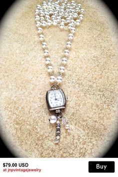 Reserved............Pendant watch/pocket watch Pearl Pendant long Necklace