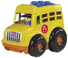 $24.95 Mega Bloks Lil School Bus. Off to school we go, aboard the yellow Lil School Bus from Mega Bloks! This great toy is an attractive replica of a classic school bus. Children will love playing bus driver with the included Mega Bloks. When they get to school, they can have fun building 6 colorful blocks on the roof of the bus. Product Measures: 9.20 X 7.00 X 6.03 Recommended Ages: 1 year - 6 years