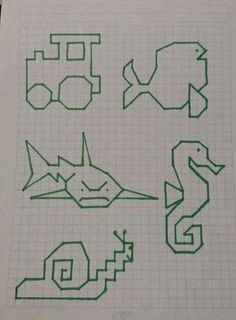 geometric figures for logos Graph Paper Drawings, Graph Paper Art, Easy Drawings, Drawing For Kids, Art For Kids, Pixel Art, Art Perle, Blackwork Embroidery, Learn To Draw