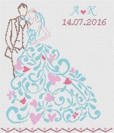 Scheme for cross stitch - Cross stitch pattern- Wedding gift- Embroidery- bridal. Bride and groom with date