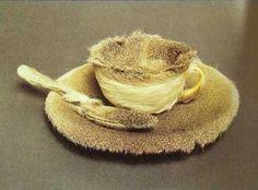 a tea cup made of fur