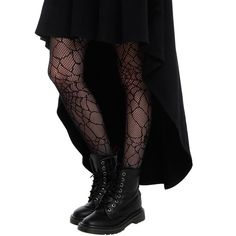 LOVEsick Black Spider Web Fishnet Tights Hot Topic ($9.37) ❤ liked on Polyvore featuring intimates, hosiery, tights, spider web stockings, fishnet hosiery, fishnet tights, black stockings and black pantyhose