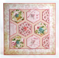 handcrafted quilt card ... hexagons ... tiny mat lines and baby buttons ... mostly pink ... sweet!