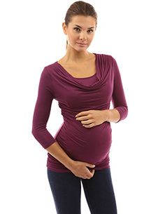 PattyBoutik Mama Style Sleeve Nursing Maternity Tunic (Dark Magenta XL): Scoop Cowl Neck 2 in 1 Style Sleeve Nursing Maternity Blouse Tunic Top. Model in pictures is 5 feet 8 inches tall wearing size S. Maternity Tunic, Maternity Fashion, Tunic Blouse, Tunic Tops, Nursing Wear, Cute Woman, Fashion Brands, Cowl Neck, Magenta