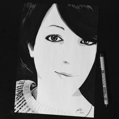 Speed-Drawing by MsieurC - Black and White Portrait - Camille #hairstyle #speeddrawing #blackandwhite #pencil #promarker #dessin #like #noietblanc #drawing #portrait #art #life #avignon #eyes #smile #artist #dessinauxfeutres