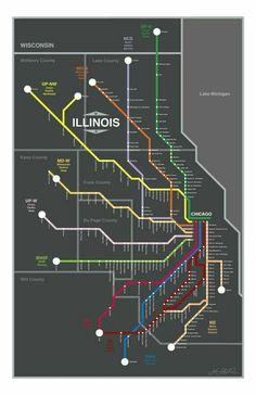 Chicago Metra Lines Map, Original Graphic Design Chicago Map, Chicago Neighborhoods, Chicago Hotels, Chicago Travel, Chicago Illinois, Columbia Chicago, Puerto Rico, Cuba, Train Map
