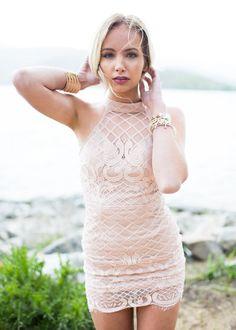Dress, Short Dress, pink Dress, Laced Dress, Halter Dress, Fitted Dress, Open Back Dress, Cute, Fashion, Online Boutique