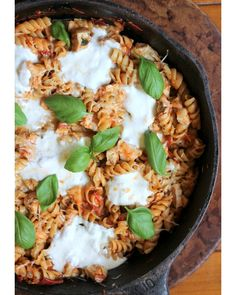 Cheesy Chicken Rotini with Tomato Basil Sauce and Burrata #cheesy #cheese #rotini #pasta #tomato #basil #sauce #burrata #skillet #food #recipe #chicken